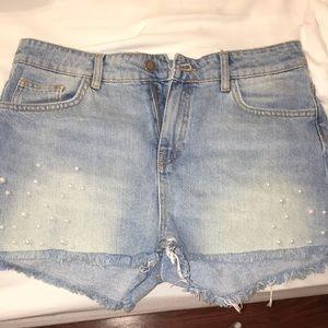 ZARA Pearl Jeans Shorts.